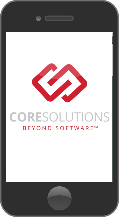 Cellphone with CoreSolutions Logo on Screen