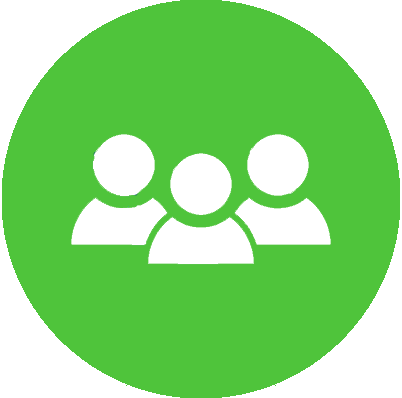 Multiple people in a green circle