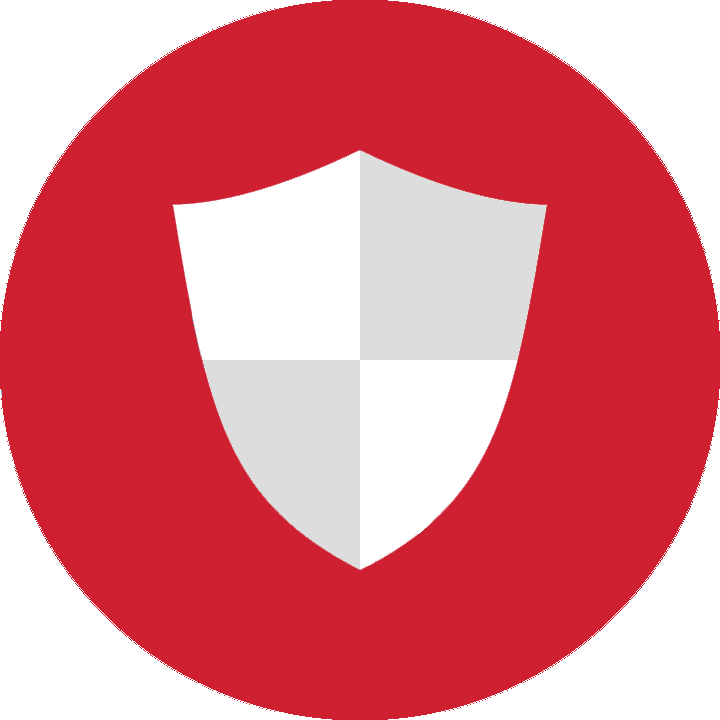 Security shield in a red circle