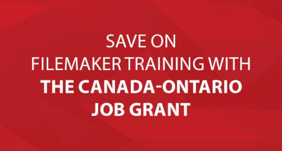 Save on FileMaker Training with The Canada-Ontario Job Grant