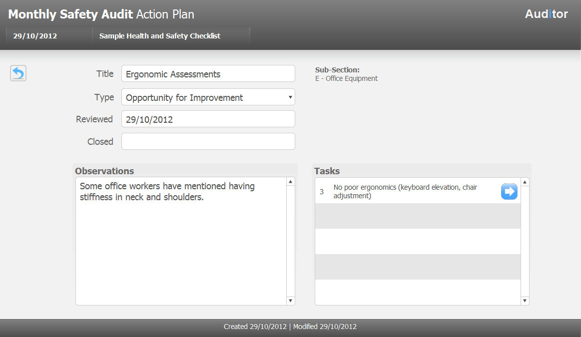Action ItemPlan. Checklist Tool