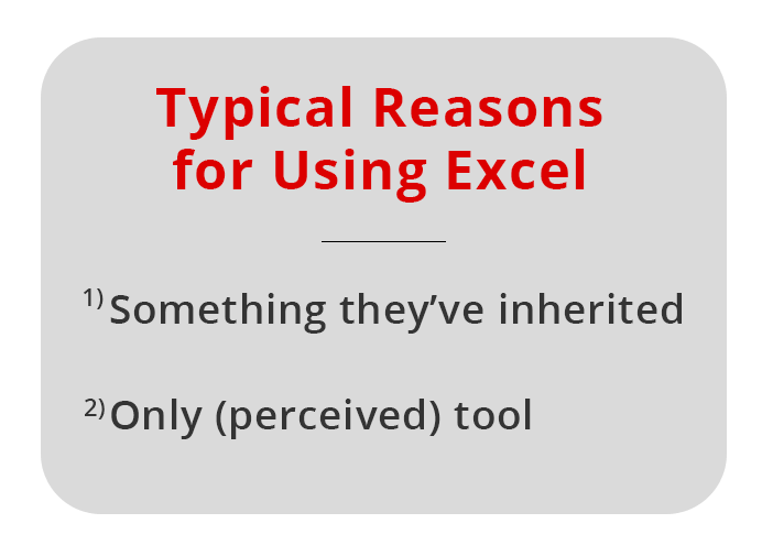 Text image of typical reasons for using excel