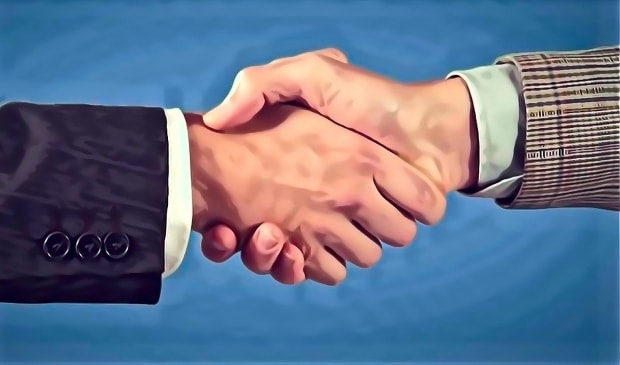 Image of a business handshake