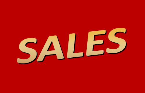 image of the word sales designed similar to the Flash logo