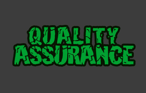 image of the words quality assurance designed similar to the Hulk logo