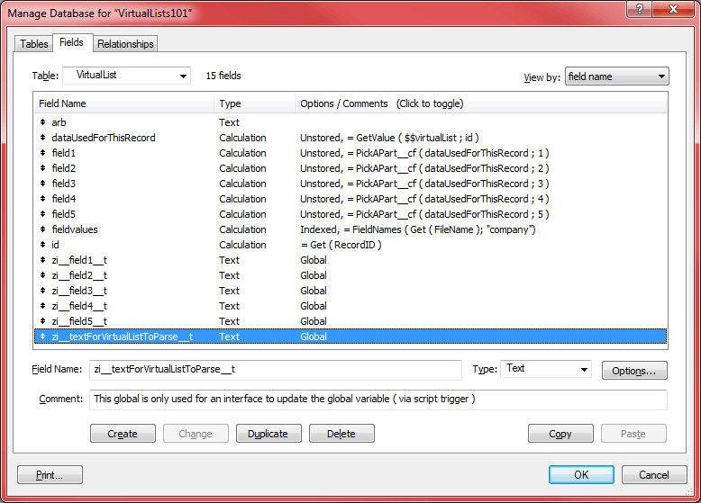 Setting up the variables in the databse management