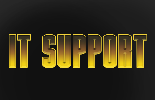 image of the words IT support designed similar to the Ironman logo