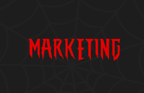 image of the word marketing designed similar to the Spiderman logo