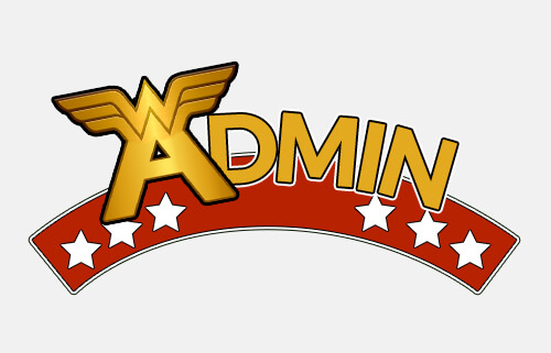 image of the word admin designed similar to the Wonder Woman logo
