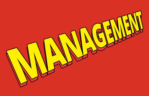 image of the word management designed similar to the X-Men logo