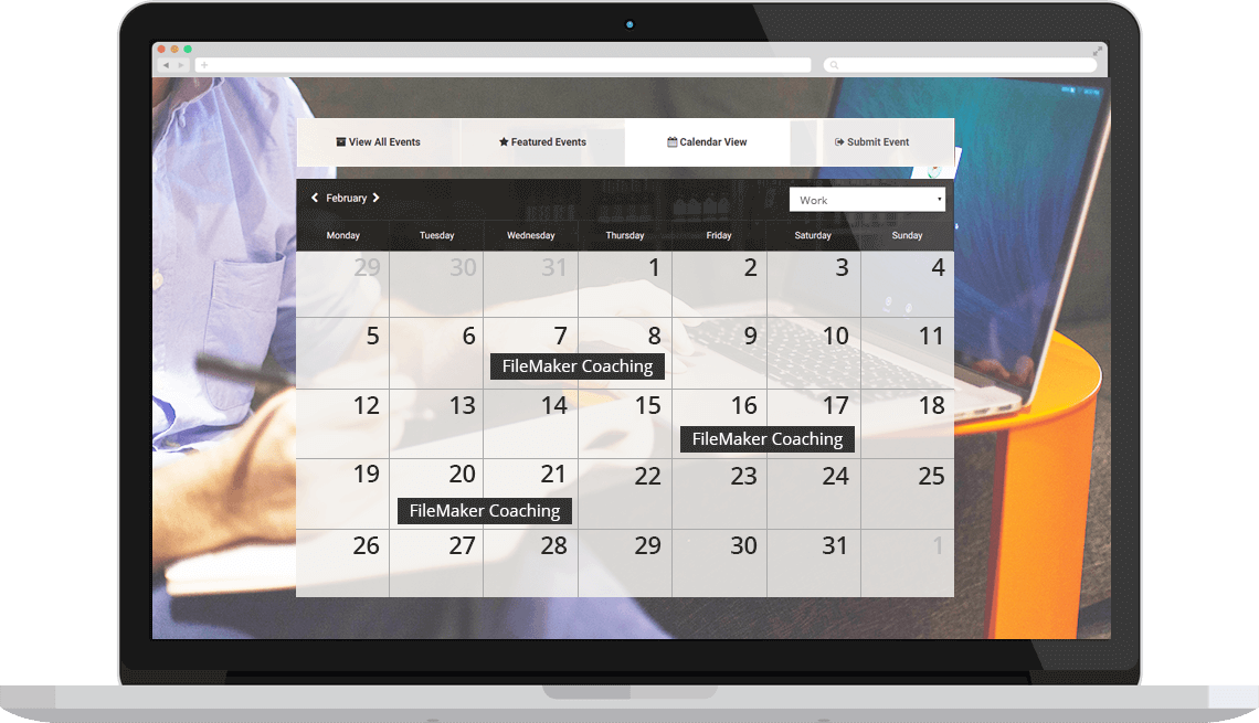 Image of calendar with FileMaker Coaching timeslots