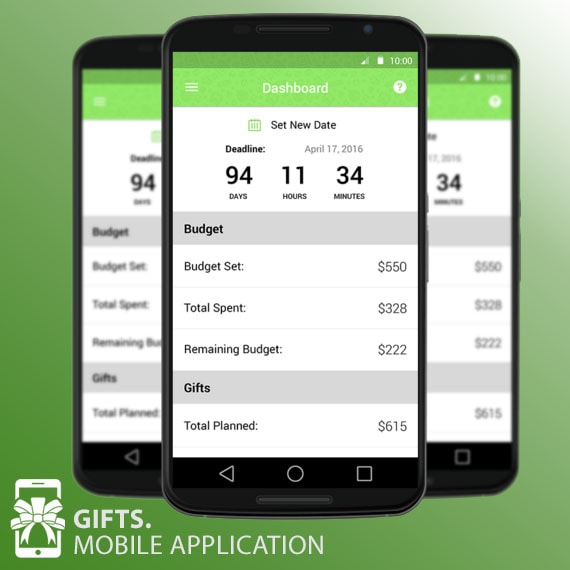 CoreSolution mobile app. Gifts. holiday budget app